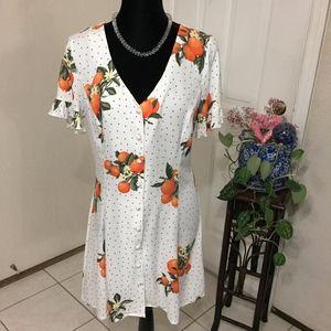 Forever 21 Polka Dot Orange Dress (size L) (X1)